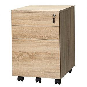 TOPSKY 3 Drawers Wood Mobile File Cabinet Fully Assembled Except Casters (Oak Letter Size)