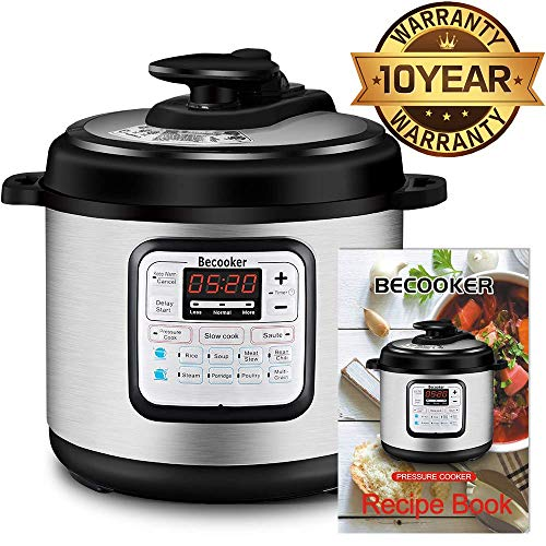 Becooker 11-in-1 Multi-Function Programmable Electric Pressure Slow Cooker, Stainless Steel Pot, 4 Quart, Black (Renewed)