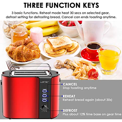 2 Slice Toaster, LOFTer Stainless Steel Bread Toasters Best Rated Prime Bundle Dimensions: 7.9 x 6.1 x 8.5 inches