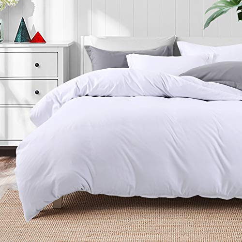 TEKAMON Luxury 3 Piece Duvet Cover Set -Ultra Soft Breathable 100% Brushed Microfiber Hotel Collection,1 Comforter Cover with Zipper Closure Matching 2 Pillow Shams, Simple Style Bedding (King, White)