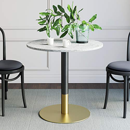 Nathan James Lucy Small Mid-Century Modern Kitchen or Dining Table with Faux Carrara Marble Top and Brushed Metal Pedestal Base, White/Gold