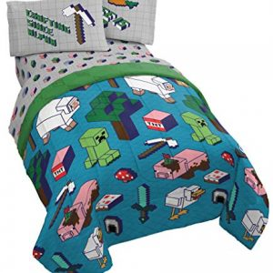 Minecraft Genda Iso Animals 5 Piece Full Bed Set - Includes Reversible Comforter & Sheet Set - Bedding Features Creeper - Super Soft Fade Resistant Microfiber - (Official Minecraft Product)