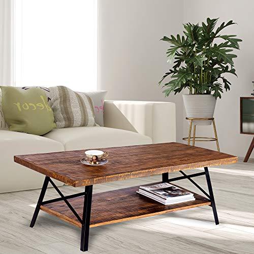 """Olee Sleep 46"""" Cocktail Wood & Metal Legs Coffee Table, Rustic Brown"""