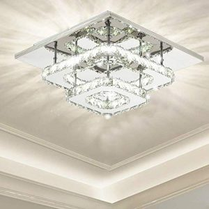 Ganeed Crystal Ceiling Light,Modern Flush Mount Lights Fixture,Square Crystal LED Ceiling Lighting Chandelier for Dining Living Room Bedroom(36W/3000-6500K)