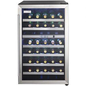 Danby DWC114BLSDD Designer 38-Bottle Dual-Zone Wine Cooler, Black/Stainless Steel/Glass Beverage Center