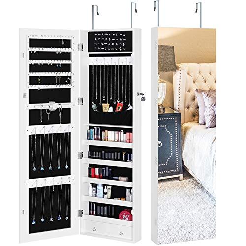 Homfa Lockable Jewelry Cabinet, Full Screen Display View Mirror Model: Homfa