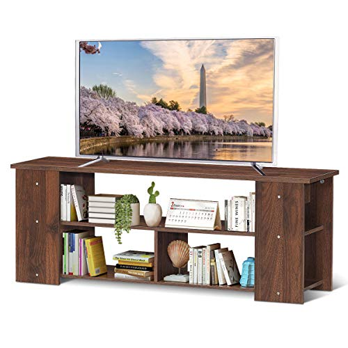 """Tangkula 3-Tier TV Stand, Wooden TV Bench for TVs up to 50"""", Media Game Console Storage Cabinet, Entertainment Center for Home Living Room Office, 44""""L x 11.5""""W x 16""""H (Coffee)"""