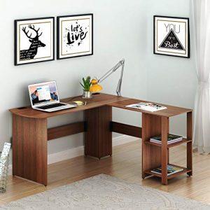 SHW L-Shaped Home Office Wood Corner Desk, Walnut