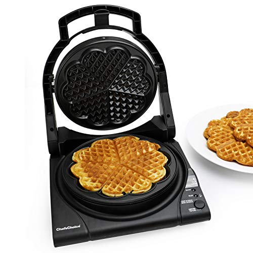 Chef'sChoice 840 WafflePro Taste / Texture Select Waffle Maker Traditional Five of Hearts Easy to Clean Nonstick Plates, 5-Slice, Silver