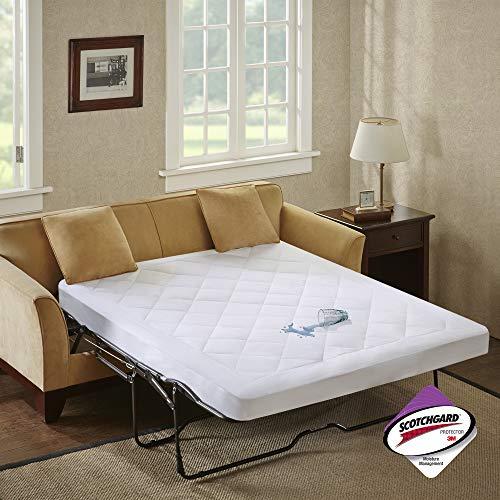 SLEEP PHILOSOPHY Holden Waterproof Sofa Bed Mattress Protection Pad with 3M Scotchgard Moisture Management White Queen