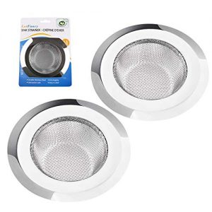 "2 Pack Kitchen Sink Strainer, Large Wide Rim 4.5"" Diameter, Stainless Steel Drain Cover, Anti Clogging Mesh Drain Strainer for Kitchen Sinks Drain, Perforated"