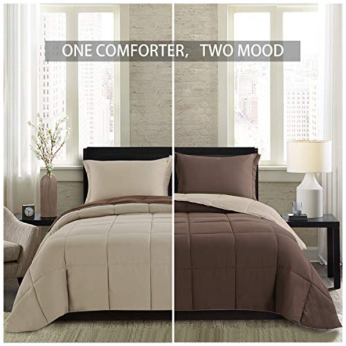 Homelike Moment Lightweight Comforter Set - King Brown Beige All Season Down Alternative Comforter Set Summer Duvet Insert 3 Piece - 1 Comforter with 2 Shams Reversible King Size Brown/Beige