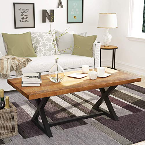 "P PURLOVE Wood Coffee Table Easy Assembly Farmhouse Wood Table 47"" Rustic Industrial Coffee Table Rectangle Coffee Table for Living Room with X-Shaped Metal Frame"