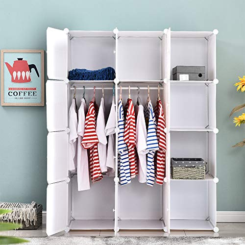 Ansley&HosHo 12 Cubes Modular Portable Wardrobe Closet Dresser Bedroom Armoire Toy Clothes Organizer Cube Storage Organizer with Doors for Living Room Bedroom Kids Room 43.518.557.5inches