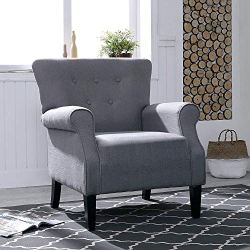 LOKATSE HOME Accent Arm Chair Mid Century Upholstered Single Sofa Modern Comfortable Furniture Pine Wood legs for Living Room, Club, Bedroom, Grey