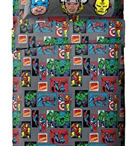 Jay Franco Marvel Avengers 3 Piece Twin Sheet Set, Superheroes Gray