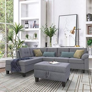 P PURLOVE Sectional Sofa Set with Chaise Lounge and Storage Ottoman Nail Head Detail (Gray)