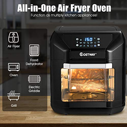 COSTWAY 10.6 QT Electric Air Fryer Toaster Oven, 7-in-1 Kitchen Pizza Package deal Dimensions: 13.5 x 13.zero x 14.5 inches
