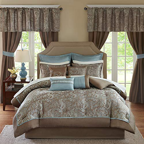 Madison Park Essentials Brystol 24 Piece Room in a Bag Faux Silk Comforter Jacquard Paisley Design Matching Curtains - Down Alternative Hypoallergenic All Season Bedding-Set, Queen, Blue