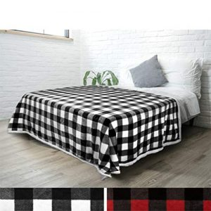PAVILIA Buffalo Check Sherpa Fleece Blanket | Black White Checkered Flannel Throw Blanket | Plaid Warm Plush Microfiber Blanket for Bed Couch Sofa | 60x80 Inches