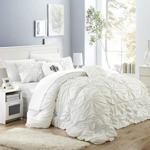 Chic Home Halpert 6 Piece Comforter Set Floral Pinch Pleated Ruffled Designer Embellished Bed Skirt, King, White