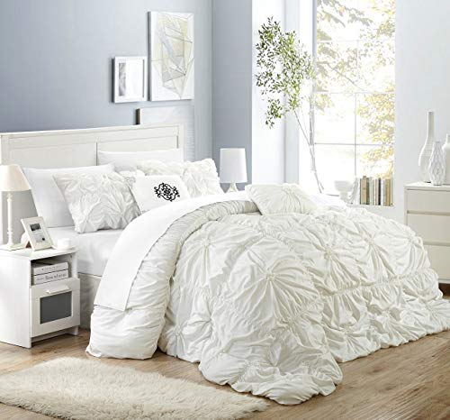 Chic Home Halpert 6 Piece Comforter Set Floral Pinch Pleated Ruffled Designer Embellished Bed Skirt, King, White