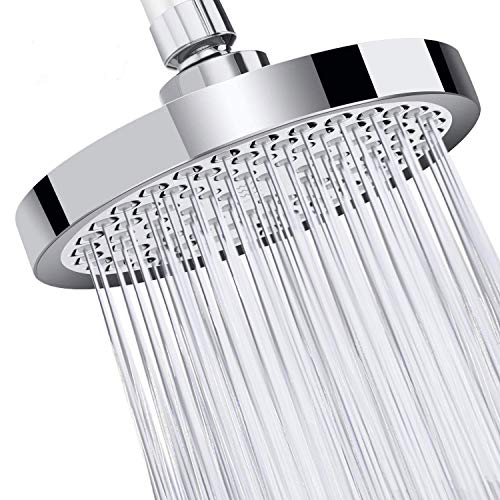 VICTORIA DOCCIA | HIGH PRESSURE RAINFALL SHOWER HEAD | 6 INCH RAIN ROUND WITH REMOVABLE WATER RESTRICTOR | LUXURY CHROME PLATED FINISH | ANTI-CLOG ANTI-LEAK