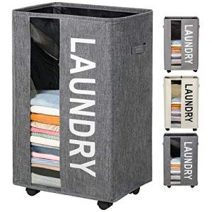 ZERO JET LAG 90L Extra Large Laundry Basket Hamper on Wheels Clear Window Tall Laundry Hamper Handles Collapsible Dirty Clothes Hamper Organizer Rolling Storage Bins Bathroom Bedroom (Dark Grey)