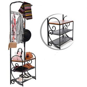 OMISHOME Elite Iron Frame Coat Shoe Bench - Shoe and Coat Rack Made from Iron and Durable Wood - Elegant and Stylish Design Bench in Matte Black - Hall Tree and Shoe Storage