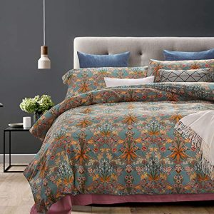 MKXI Luxury Duvet Cover Set for Autumn Vintage Style Adults Home Bedroom Collection Reversible Print Silky Cotton Button Cloure Bedding Set with Ties(Queen)