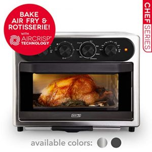 Dash Chef Series 7 in 1 Convection Toaster Oven Cooker, Rotisserie + Electric Air Fryer with Non-stick Fry Basket, Baking Pan & Rack, Skewers, Drip Tray & Recipe Book, 23L, Stainless Steel