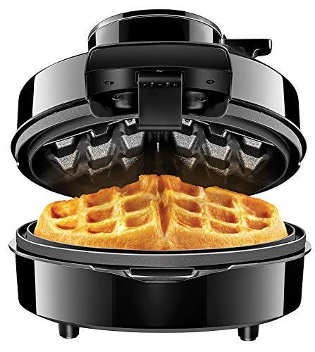 Chefman Waffle Maker w/No Overflow Design, Round Iron for Mess-Free Breakfast Best Small Appliance Innovation Award Winner, Measuring Cup & Cleaning Tool Included