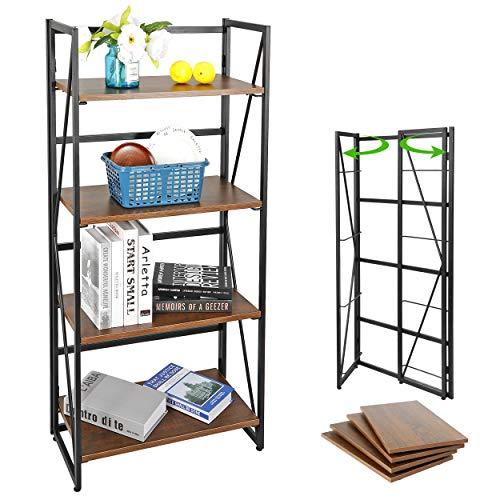 SUPER DEAL 4 Tier Folding Bookshelf Storage Shelves Foldable Stackable BookcaseMetal Frame Furniture Home Office