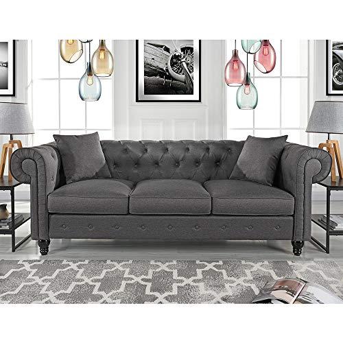 Divano Roma Furniture Classic Sofas, Large, Light Grey