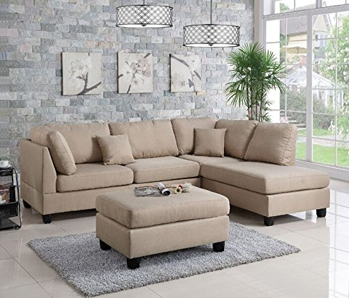 Poundex PDEX- Upholstered Sofas/Sectionals/Armchairs, Sand