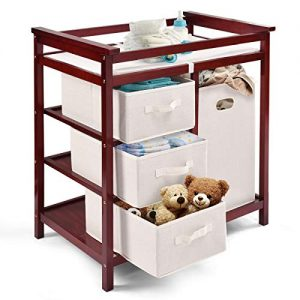 Costzon Baby Changing Table Basket Hamper Infant Diaper Nursery Station (Wine)
