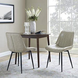 Volans Dining Chairs Modern Mid Century Retro Armless Leather Upholstered Side Chair with Metal Legs for Kitchen Dining Room Living Room Bedroom Desk, Beige (Set of 2)