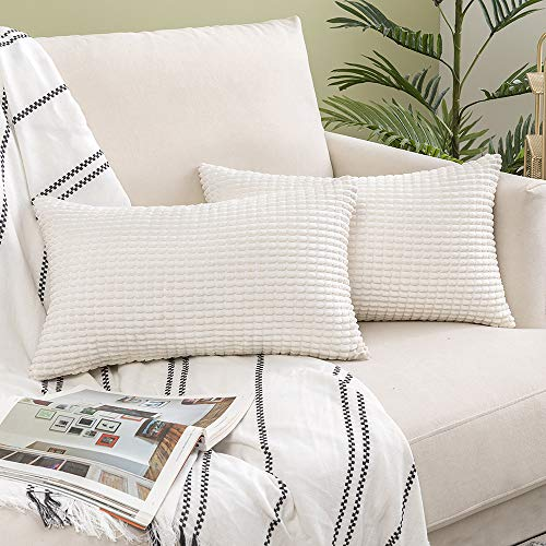 Woaboy Pack of 2 Decorative Corduroy Throw Pillow Covers Soft Solid Cushion Covers Square Modern Style Pillowcases for Couch Bed Sofa Living Room 12x20inch 30x50cm Cream