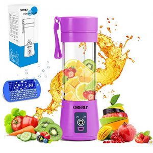 Portable Blender, OBERLY Smoothie Juicer Cup - Six Blades in 3D, 13oz Fruit Mixing Machine with 2000mAh USB Rechargeable Batteries, Ice Tray, Detachable Cup (FDA, BPA Free)