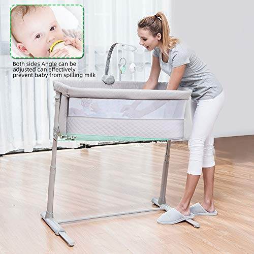 Baby Bassinet,RONBEI Bedside Sleeper Baby Bed Cribs,Baby Bed to Bed Baby Bassinet,RONBEI Bedside Sleeper Baby Bed Cribs,Baby Bed to Bed, Newborn Baby Crib,Adjustable Portable Bed for Infant/Baby Boy/Baby Girl (Bassinet).