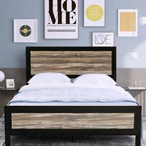 Amolife Full Size Bed Frame with Headboard/Platform Bed Metal Bed Frame/Strong Slat Support/No Box Spring Needed, Black