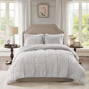 Madison Park Nova Luxury Soft Mohair Reverse Faux Mink Comforter Set, Full/Queen, Grey