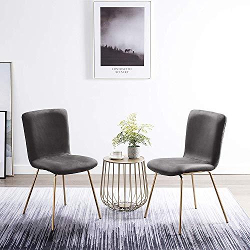 Art-Leon Velvet Dining Chairs, Mid Century Modern Velvet Upholstered Dining Side Chairs with Gold Legs Cute Desk Chairs for Kitchen Living Room Bedroom, Set of 2 (Grey)