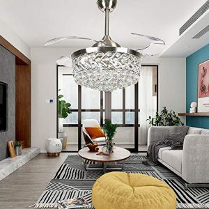 Healer 42 inch Crystal Ceiling Fan with Lights and Remote Control 3 Light Level, Modern Luxury Chandelier Fans Lighting with 3 Speeds and Retractable Blades for Dining/Living Room Bedroom