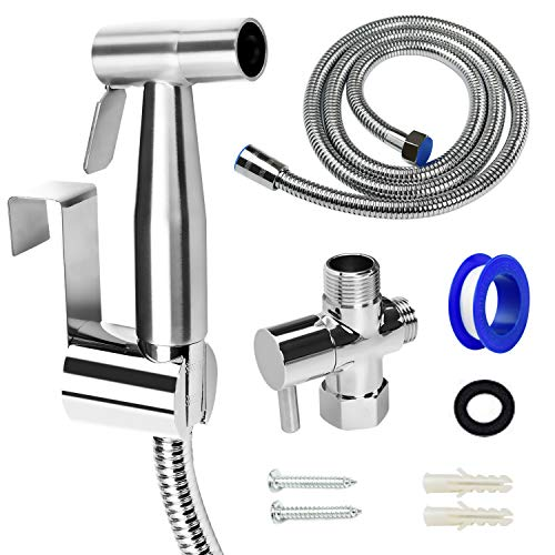 ORANGEHOME Bidet Sprayer for Toilet, Handheld Bidet Toilet Attachment Sprayer, Bathroom Sprayer Kit, Stainless Steel Baby Diaper Cloth Washer and Full Pressure Leakproof Pet Shower Sprayer