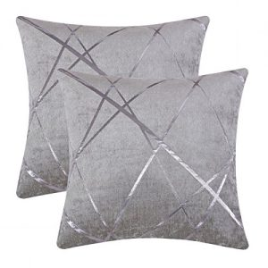 GIGIZAZA Decorative Couch Pillow Covers 16 x16,Sofa Chenille Thick Cushion Pillow Covers,Square Grey Luxury Pillows 2 Set