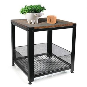 YOUNIS Industrial End Table with Storage Shelf, Rustic Brown Square Side Table/Night Stand/Coffee Table for Living Room Bedroom Balcony Family and Office, Sturdy Metal Frame Easy Assembly