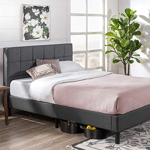 Zinus Lottie Upholstered Square Stitched Platform Bed / Mattress Foundation / Easy Assembly / Strong Wood Slat Support, Full