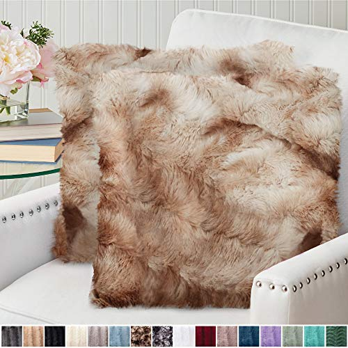 The Connecticut Home Company Original Faux Fur Pillowcases, Set of 2 Decorative Case Sets, Throw Pillow Covers, Luxury Soft Cases for Bedroom, Living Room, Couch, Sofa, Bed, 20x20 inch, Tie Dye Beige