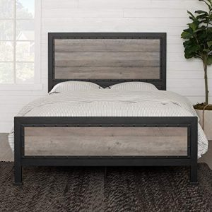 Walker Edison Furniture Company Rustic Farmhouse Wood Queen Metal Bed Headboard Footboard Frame Bedroom, Grey Wash